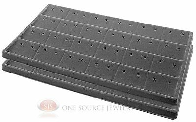 2 Gray Insert Tray Liners For 24 Pair Of Earrings Organizer Jewelry Display