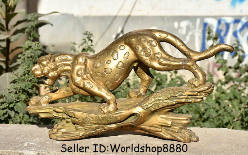 """20""""Old China Copper Brass Feng Shui Animal Leopard Panthera pardus Wealth Statue"""