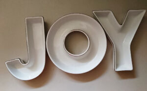 JOY Centerpiece Plates Set Candy Dish Letters Plates Ceramic