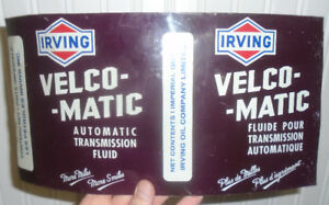 VINTAGE 1960's IRVING VELCO-MATIC ATF IMPERIAL QUART CAN - FLAT