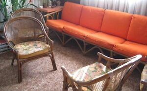 Ratan Couch and 4 Arm Chairs Peterborough Peterborough Area image 1