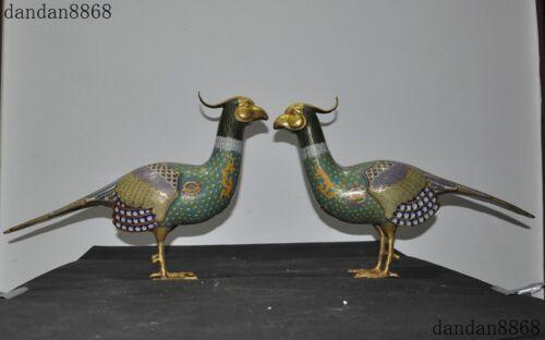 Chinese Purple Copper Cloisonne Gilt Auspicious Feng Shui Beautiful Bird Statue