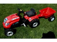 Smoby Red Tractor and trailer - great condition