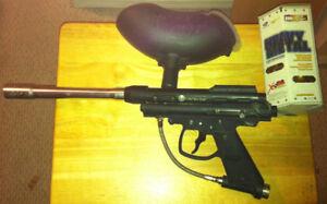 Marauder Paintball gun, VL200 Hopper, and Paintballs