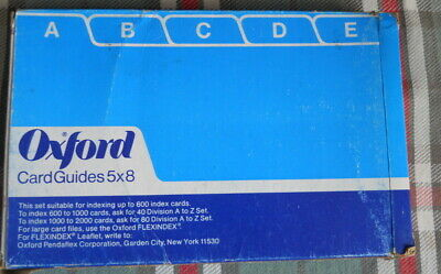 Index Card 5 X 8 Dividers Bristol17pts A -thru - V Oxford Guides 5825