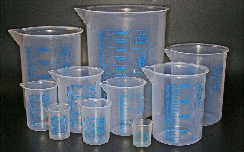 Messbecher Griffinbecher aus Kunststoff PP oder TPX 10 Größen zur Auswahl