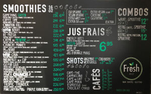 Hand drawn chalkboard menus & murals for restaurant