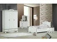 REAL WOOD WARDROBE OTTOMAN BED CHEST OF DRAWERS