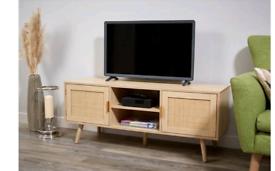 Lloyd pascal light oak rattan tv unit brand new Rrp £160