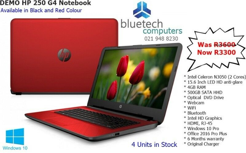 Red HP 250 G4 Business Laptop. Bluetech Computers 021 948 8230