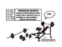 ADIDAS WEIGHTS BENCH WITH 65KG VINYL WEIGHTS SET 2 DUMBELLS AND BARBELL