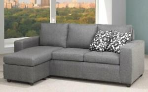 Linen Sectional with Reversible Chaise - Charcoal Graphite Grey Charcoal Graphite Grey