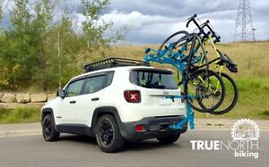 Vehicle hitch bicycle rack, any wheel size, any discipline
