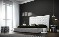 Modern Tufted Leather Queen Platform Bed! Free Shipping!
