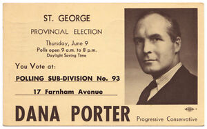 1955 DANA PORTER ELECTION POLLING CARD (Canada Post Card)