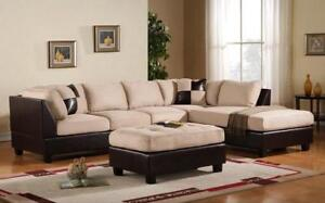 Fabric Sectional Set with Left Side Or Right Side Chaise and Ottoman - Beige   Black Right Side Chaise / Black   Beige