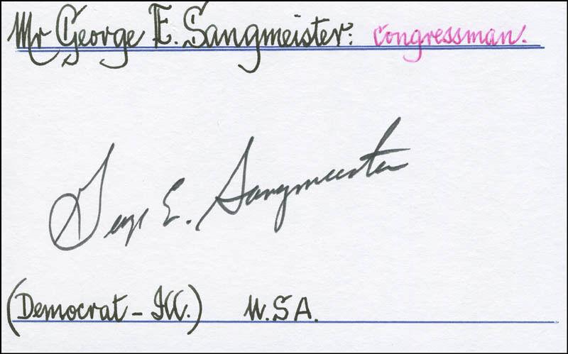 GEORGE E. SANGMEISTER - SIGNATURE(S)