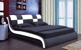 Luxury black and white double bed