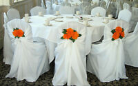 100 White Satin Versatile Chair covers- RENT