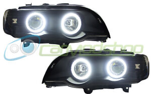 BMW X5 E53 98-03 Black Projector SMD LED angel eye Headlights