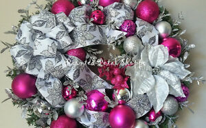 Silver & Pink Sparkle Christmas Wreath/ Fuchsia Holiday Wreath Belleville Belleville Area image 3