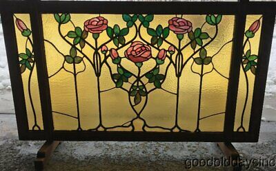 Arts & Crafts Tobey Furniture Co. Chicago Stained Leaded Glass Fireplace Screen  ()