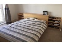 King size Ikea bed frame and two bedside tables