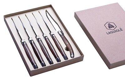 6 Edelstahl-Steakmesser Walnuss-Griff LAGUIOLE Sägeschliff NEU+OVP