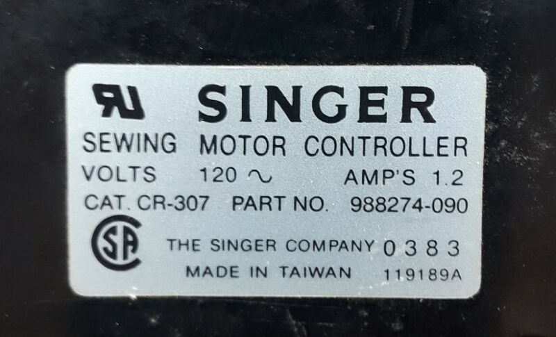 Singer Sewing Machine 988274-090 Foot Pedal 3-Prong Motor Controller Model CR307