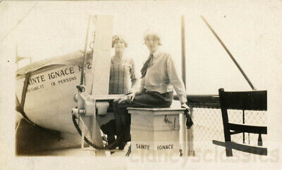 1927 Flapper Gals Bessie & Anna Aboard S.S. St Ignace Ferryboat Michigan