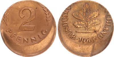 BRD 2 Pfennig 1966 Fehlprägung: 25 % dezentriert, prfr.