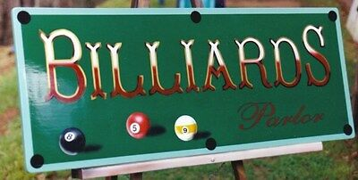 Custom Vintage Billiards Parlor Sign, Pool Very Nice, Hand Painted