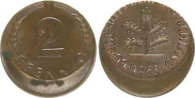 BRD 2 Pfennig 1965 J Fehlprägung: 20 % dezentriert vz kräftige Kupferpatina