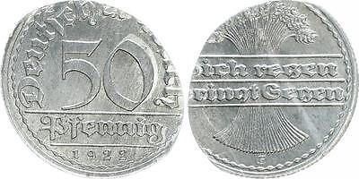 Weimar 50Pf.1922 E J.301 FEHLPRÄGUNG auf ovalem Schrötling Rand zu 50% geriff.