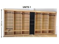 Retail Shop Shelving Units with Glass Shelves and Spot Lights