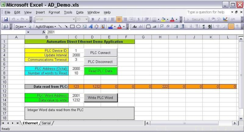 Automation Direct PLC Ethernet/Serial ActiveX Driver Read/Write Data into Excel