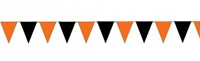 Outdoor Pennant Banner (30 ft heavy duty Outdoor All Weather black and orange Pennant Banner flags)