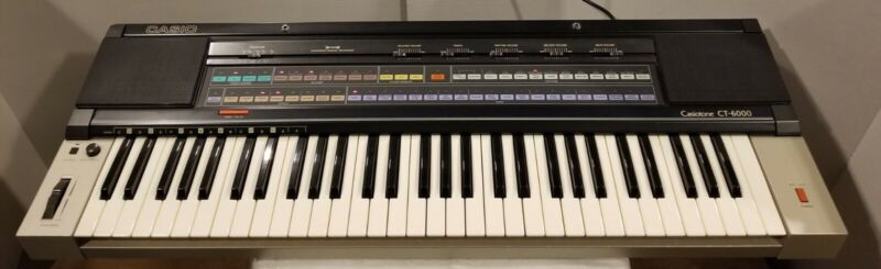 Casio CT-6000 Keyboard Vintage MIDI 61 Key Cover Manual Power Cord Tested Works