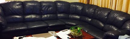 Navy leather lounge suite for sale Burwood Burwood Area Preview
