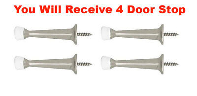 """4x Perfect Home Door Stop Solid Brushed Nickel Rigid Doorstop Door Stopper 3"""""""