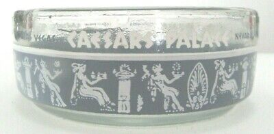 Vintage Caesars Palace Ashtray Las Vegas Hotel Glass Round Blue & White