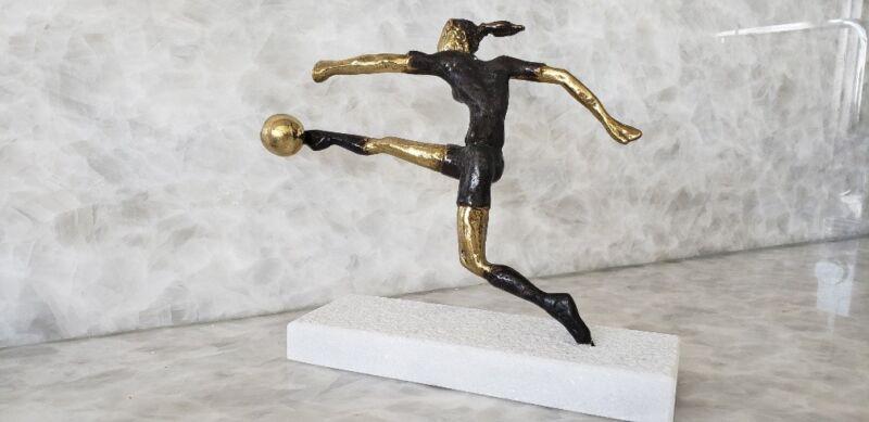 Bronze Sculpture Female Soccer Player Yanni Greek Artist Modern Original Ltd