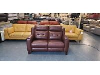 Ex-display Violino Livorno brown leather electric recliner 2 seater sofa