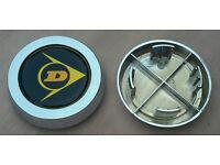 4x Dunlop D1 Classic wheels repro center centre caps chromed ESCORT CORTINA ANGLIA CORSAIR MINI