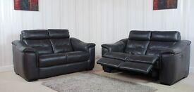 Designer Black Leather Pair of 2 Seater Sofas (14) £999