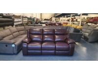Ex-display Warren brown leather manual recliner 3 seater sofa