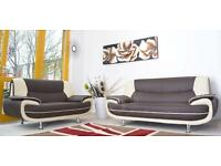 NEW DESIGNER 3 AND 2 SEATER LEATHER SOFA SUITE