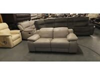 Ex-display Riposo light grey leather electric recliner 2 seater sofa