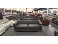 Ex-display Rogers oxford grey leather 3 seater sofa