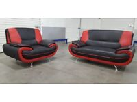 Ex Display Red/Black 2 & 1 Seater Leather Sofa Set